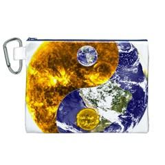 Design Yin Yang Balance Sun Earth Canvas Cosmetic Bag (xl)