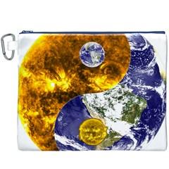 Design Yin Yang Balance Sun Earth Canvas Cosmetic Bag (xxxl)