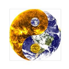 Design Yin Yang Balance Sun Earth Small Satin Scarf (square)