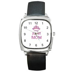 Crazy Pageant Mom Square Metal Watch