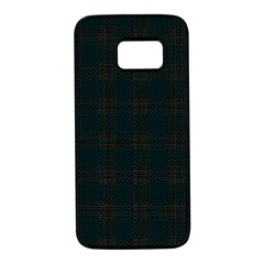 Plaid Pattern Samsung Galaxy S7 Black Seamless Case
