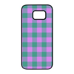 Plaid Pattern Samsung Galaxy S7 Edge Black Seamless Case