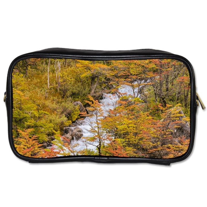 Colored Forest Landscape Scene, Patagonia   Argentina Toiletries Bags 2-Side