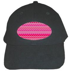 Valentine Pink and Red Wavy Chevron ZigZag Pattern Black Cap