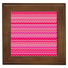 Valentine Pink and Red Wavy Chevron ZigZag Pattern Framed Tiles
