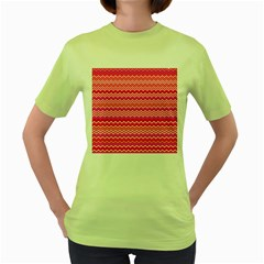 Valentine Pink and Red Wavy Chevron ZigZag Pattern Women s Green T-Shirt