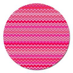 Valentine Pink and Red Wavy Chevron ZigZag Pattern Magnet 5  (Round)