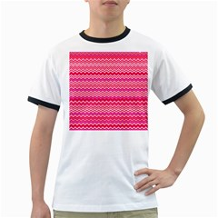 Valentine Pink and Red Wavy Chevron ZigZag Pattern Ringer T-Shirts