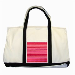 Valentine Pink and Red Wavy Chevron ZigZag Pattern Two Tone Tote Bag