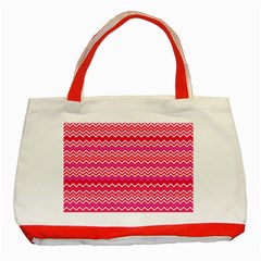 Valentine Pink and Red Wavy Chevron ZigZag Pattern Classic Tote Bag (Red)