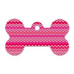 Valentine Pink and Red Wavy Chevron ZigZag Pattern Dog Tag Bone (One Side)