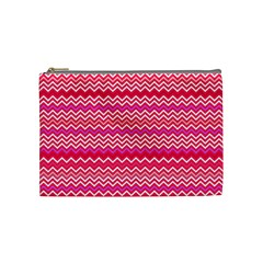 Valentine Pink and Red Wavy Chevron ZigZag Pattern Cosmetic Bag (Medium)