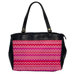 Valentine Pink and Red Wavy Chevron ZigZag Pattern Office Handbags