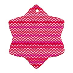 Valentine Pink and Red Wavy Chevron ZigZag Pattern Snowflake Ornament (Two Sides)