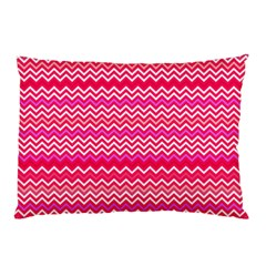 Valentine Pink and Red Wavy Chevron ZigZag Pattern Pillow Case (Two Sides)