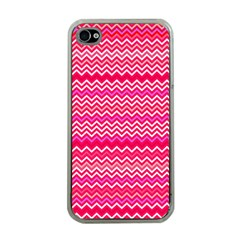 Valentine Pink and Red Wavy Chevron ZigZag Pattern Apple iPhone 4 Case (Clear)