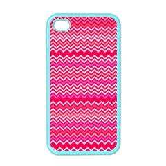 Valentine Pink and Red Wavy Chevron ZigZag Pattern Apple iPhone 4 Case (Color)