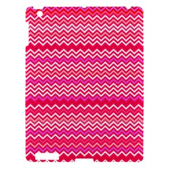 Valentine Pink and Red Wavy Chevron ZigZag Pattern Apple iPad 3/4 Hardshell Case
