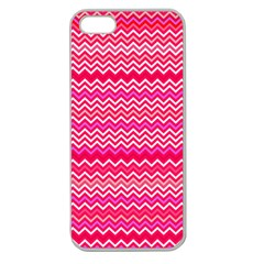 Valentine Pink and Red Wavy Chevron ZigZag Pattern Apple Seamless iPhone 5 Case (Clear)