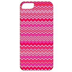 Valentine Pink and Red Wavy Chevron ZigZag Pattern Apple iPhone 5 Classic Hardshell Case