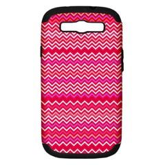 Valentine Pink and Red Wavy Chevron ZigZag Pattern Samsung Galaxy S III Hardshell Case (PC+Silicone)