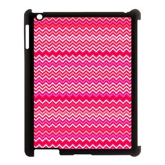 Valentine Pink and Red Wavy Chevron ZigZag Pattern Apple iPad 3/4 Case (Black)