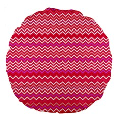 Valentine Pink and Red Wavy Chevron ZigZag Pattern Large 18  Premium Round Cushions