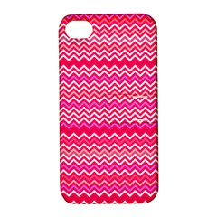 Valentine Pink and Red Wavy Chevron ZigZag Pattern Apple iPhone 4/4S Hardshell Case with Stand