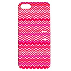 Valentine Pink and Red Wavy Chevron ZigZag Pattern Apple iPhone 5 Hardshell Case with Stand