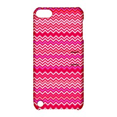 Valentine Pink and Red Wavy Chevron ZigZag Pattern Apple iPod Touch 5 Hardshell Case with Stand