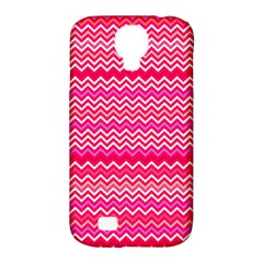 Valentine Pink and Red Wavy Chevron ZigZag Pattern Samsung Galaxy S4 Classic Hardshell Case (PC+Silicone)