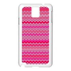 Valentine Pink and Red Wavy Chevron ZigZag Pattern Samsung Galaxy Note 3 N9005 Case (White)
