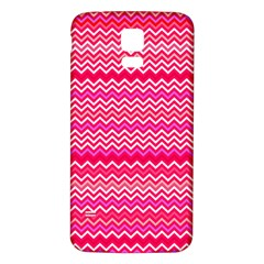 Valentine Pink and Red Wavy Chevron ZigZag Pattern Samsung Galaxy S5 Back Case (White)