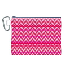 Valentine Pink and Red Wavy Chevron ZigZag Pattern Canvas Cosmetic Bag (L)