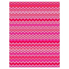 Valentine Pink and Red Wavy Chevron ZigZag Pattern Drawstring Bag (Large)