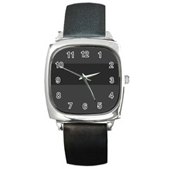 Gray And Black Thick Stripes Square Metal Watch