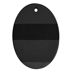 Gray And Black Thick Stripes Oval Ornament (two Sides)