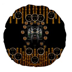 Foxy Panda Lady With Bat And Hat In The Forest Large 18  Premium Flano Round Cushions