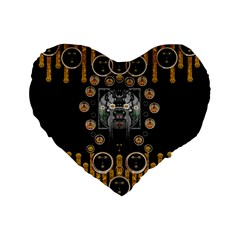 Foxy Panda Lady With Bat And Hat In The Forest Standard 16  Premium Flano Heart Shape Cushions