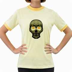 Skull With Fried Egg Eyes Women s Fitted Ringer T Shirts