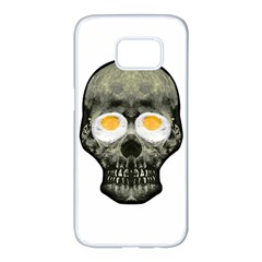 Skull With Fried Egg Eyes Samsung Galaxy S7 Edge White Seamless Case