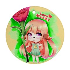 Happy Mother s Day Furry Girl Ornament (round)