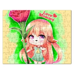 Happy Mother s Day Furry Girl Rectangular Jigsaw Puzzl