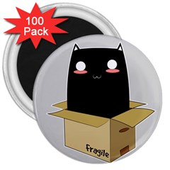 Black Cat In A Box 3  Magnets (100 Pack)