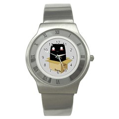 Black Cat In A Box Stainless Steel Watch