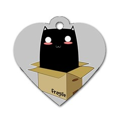 Black Cat In A Box Dog Tag Heart (two Sides)