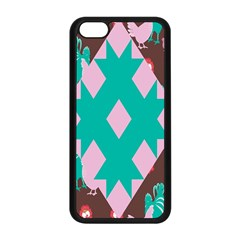 Animals Rooster Hens Chicks Chickens Plaid Star Flower Floral Sunflower Apple Iphone 5c Seamless Case (black)