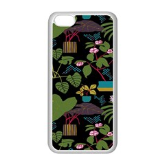 Wreaths Flower Floral Leaf Rose Sunflower Green Yellow Black Apple Iphone 5c Seamless Case (white)