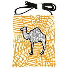 Animals Camel Animals Deserts Yellow Shoulder Sling Bags