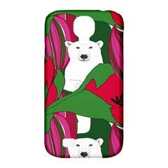 Animals White Bear Flower Floral Red Green Samsung Galaxy S4 Classic Hardshell Case (pc+silicone)